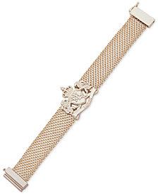 Lauren Ralph Lauren Gold-Tone Crest Mesh Flex Bracelet