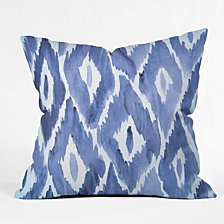 Deny Designs Natalie Baca Painterly Ikat in Indigo Throw Pillow