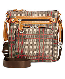 Giani Bernini Plaid Block Signature Crossbody, Created for Macy's