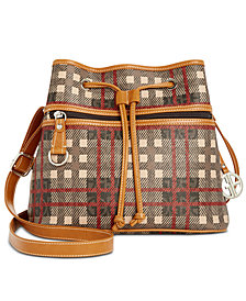 Giani Bernini Plaid Logo Drawstring Bucket Bag, Created for Macy's
