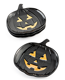 Martha Stewart Collection 4-Pc. Jack-O-Lantern Appetizer Plates, Created for Macy's