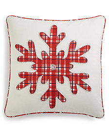 "Martha Stewart Collection Plaid Snowflake 18"" Square Decorative Pillow, Created for Macy's"
