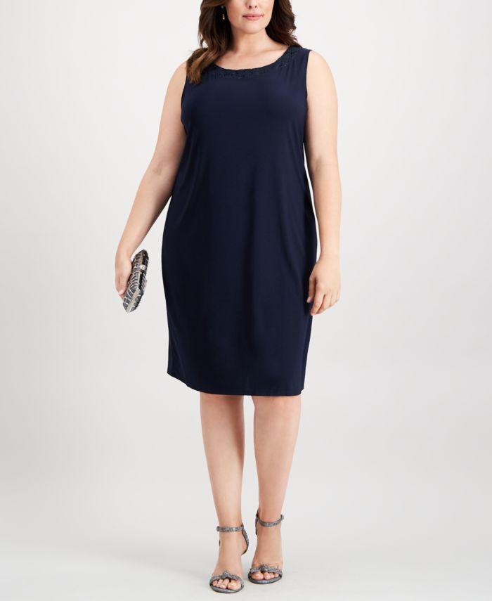 R & M Richards Plus-Size Embellished Dress & Jacket Set & Reviews - Dresses - Women - Macy's