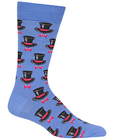 Hot Sox Men's Top Hat & Bow Tie Crew Socks