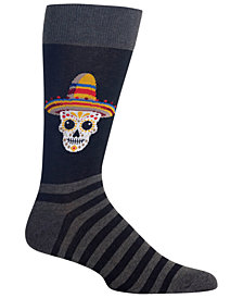 Hot Sox Men's Sombrero Sugar Skull Crew Socks