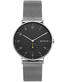 Skagen Men's Aaren Gray Stainless Steel Mesh Bracelet Watch 40mm