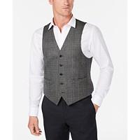 Lauren Ralph Lauren Mens Classic-Fit Gray Plaid Wool Vest