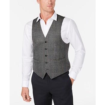 Lauren Ralph Lauren Men's Classic-Fit Gray Plaid Wool Vest