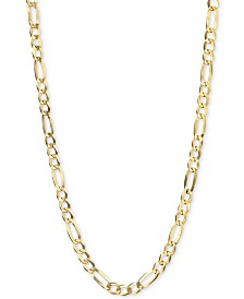 "Italian Gold Figaro Link 22"" Chain Necklace (3-3/8mm) in 14k Gold"