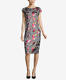 ECI Metallic-Print Plaid Sheath Dress