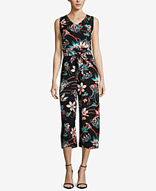 ECI Cropped Floral-Print Jumpsuit