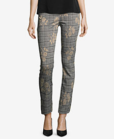 ECI Floral-Printed Plaid Pants