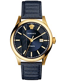 Men's Swiss Automatic Aiakos Blue Leather Strap Watch 44mm