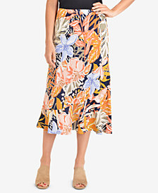 NY Collection Printed Diagonal-Seam Skirt