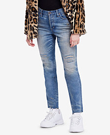 Free People Pioneer Cotton Semi-Destroyed Skinny Jeans