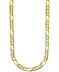 "Italian Gold Figaro Link 24"" Chain Necklace in 14k Gold"
