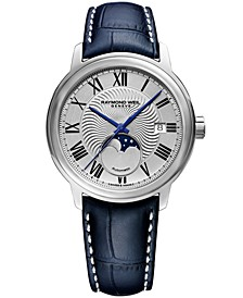 Men's Swiss Maestro Moonphase Dark Blue Leather Strap Watch 39.5mm