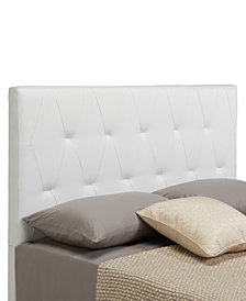 Muse Headboard, Full/Queen, White Faux Leather