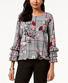 Alfani Petite Floral-Print Tiered-Cuff Top, Created for Macy's