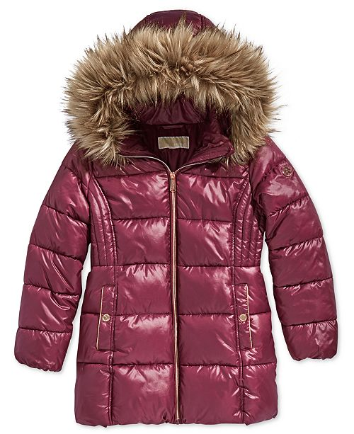 fde41e6d58f96 ... Michael Kors Little Girls Hooded Puffer Stadium Coat with Faux-Fur Trim  ...