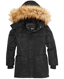 DKNY Big Boys Hooded Parka with Removable Faux-Fur Trim