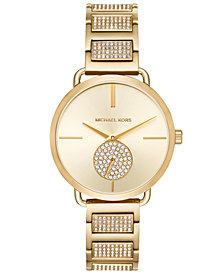 Michael Kors Women's Portia Gold-Tone Stainless Steel Pavé Accent Bracelet Watch 37mm