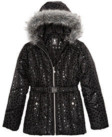 S. Rothschild Big Girls Hooded Metallic-Print Puffer Jacket with Faux-Fur Trim