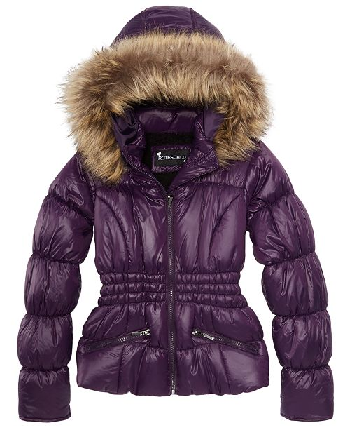 strong packing browse latest collections latest discount S. Rothschild Big Girls Hooded Puffer Jacket with Faux-Fur Trim