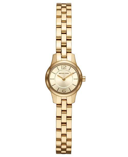Michael Kors Women's Petite Runway Gold-Tone Stainless Steel Bracelet Watch 19mm