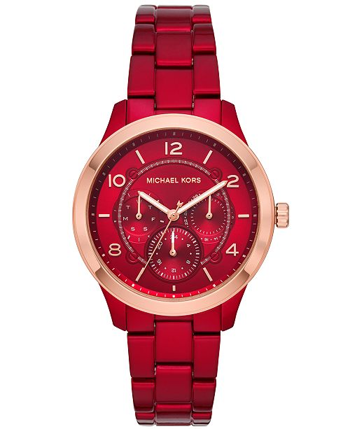 Michael Kors Women's Runway Red Stainless Steel Bracelet Watch 38mm