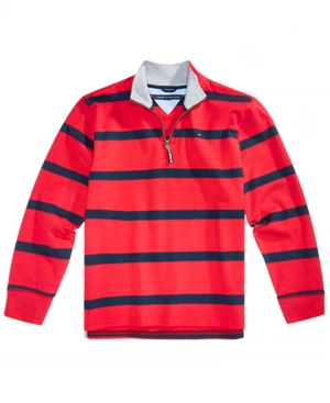 Tommy Hilfiger Little Boys Rugby Striped QuarterZip Cotton Pullover