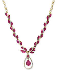 "EFFY® Certified Ruby (10-5/8 ct. t.w.) and Diamond (9/10 ct. t.w.) Fancy 18"" Statement Necklace in 14k Gold"