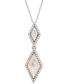 "Mother-of-Pearl and White Topaz (3/8 ct. t.w.) 18"" Pendant Necklace in Sterling Silver"