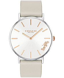 COACH Women's Perry Created for Macy's Light Gray Leather Strap Watch 36mm