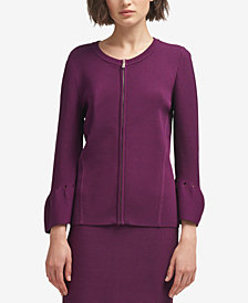 DKNY Zip-Front Bell-Sleeve Cardigan, Created for Macy's