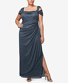 Plus Size Draped Cold-Shoulder Dress