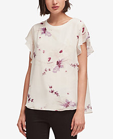 DKNY Ruffle Sleeve Floral-Print Top, Created for Macy's