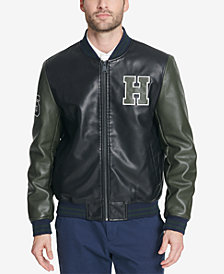 Tommy Hilfiger Men's Faux-Leather Varsity Jacket, Created for Macy's
