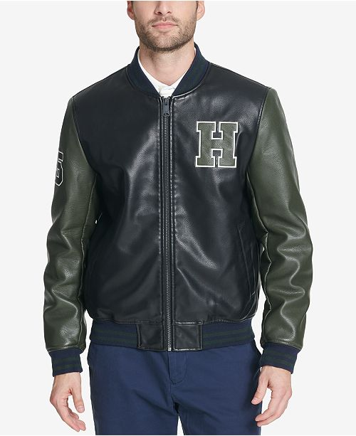 Tommy Hilfiger Mens Faux Leather Varsity Jacket Created For Macys