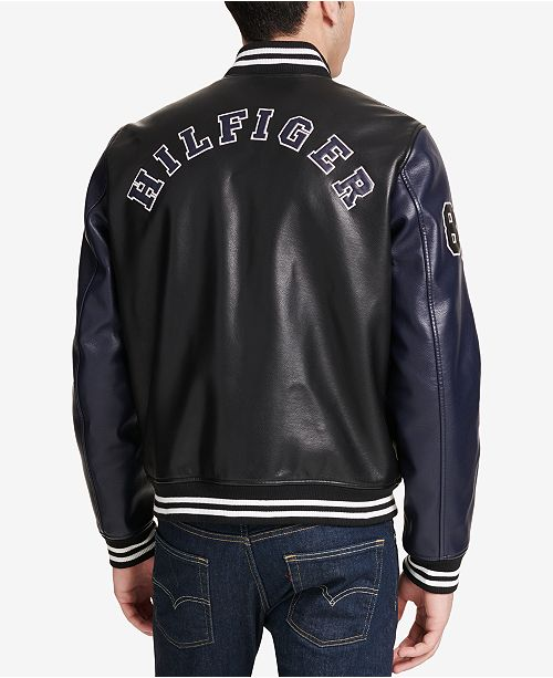 suitable for men/women top style 100% original Men's Big & Tall Faux-Leather Varsity Jacket, Created for Macy's