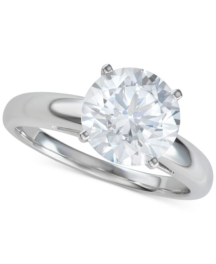 Macy's - Diamond Solitaire Engagement Ring (3-1/2 ct. t.w.) in 14k White Gold