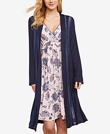 Jessica Simpson Nursing Lace-Trim Belted Robe