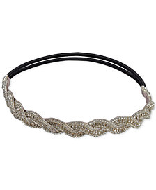 Deepa Silver-Tone Beaded Stretch Headband