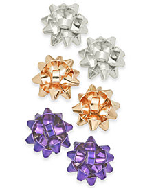 Holiday Lane Tri-Tone 3-Pc. Set Gift Bow Stud Earrings, Created for Macy's