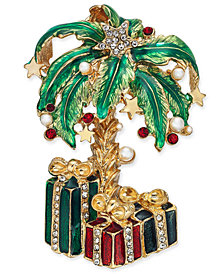 Holiday Lane Gold-Tone Imitation Pearl & Stone Palm Tree & Presents Pin, Created for Macy's