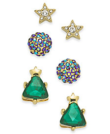 Holiday Lane Gold-Tone 3-Pc. Set Crystal Star, Ball & Tree Stud Earrings, Created for Macy's