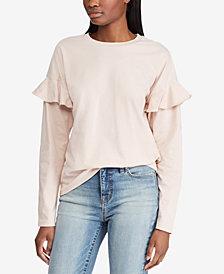 Lauren Ralph Lauren Ruffled-Sleeve Cotton Top