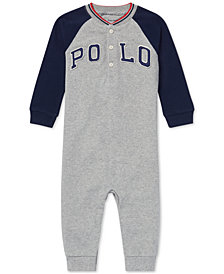 Ralph Lauren Baby Boys Cotton Mesh Henley Coverall