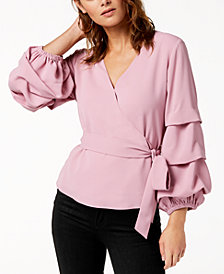 Bar III Surplice Volume-Sleeve Top, Created for Macy's