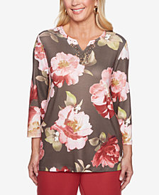 Alfred Dunner Sunset Canyon Embellished Floral-Print Top